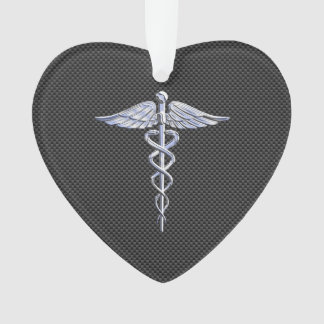 Chrome Caduceus Medical Symbol Carbon Fiber Print