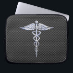 "Chrome Caduceus Medical Symbol Carbon Fiber Print Laptop Sleeve<br><div class=""desc"">The Symbolic Chrome Like Caduceus Medical Symbol design presented here on a black carbon fiber print background. The caduceus snakes is designed to look like it is made of chrome. Good for a graduation occasion, a statement for your profession, or for a gift with that medical look your are looking...</div>"