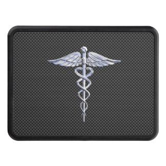 Chrome Caduceus Medical Symbol Carbon Fiber Print Tow Hitch Cover