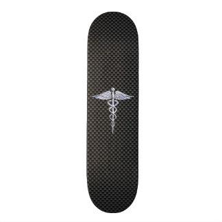 Chrome Caduceus Medical Symbol Carbon Fiber Print Skate Board Decks