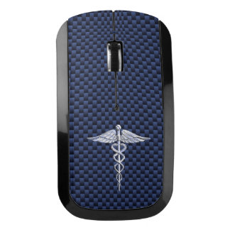 Chrome Caduceus Medical Symbol navy Carbon Fiber Wireless Mouse