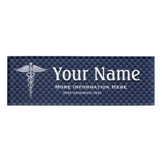 Chrome Caduceus Medical Symbol navy tag Carbon