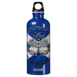 Chrome Celtic Knot Thistle Aluminum Water Bottle