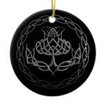 Chrome Celtic Knot Thistle Ceramic Ornament