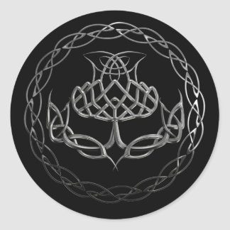 Chrome Celtic Knot Thistle Classic Round Sticker