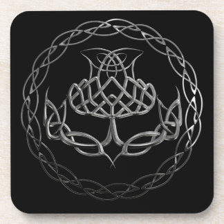 Chrome Celtic Knot Thistle Coasters