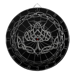 Chrome Celtic Knot Thistle Dartboard With Darts