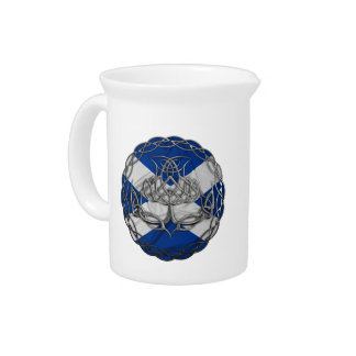 Chrome Celtic Knot Thistle Drink Pitcher