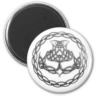 Chrome Celtic Knot Thistle 2 Inch Round Magnet