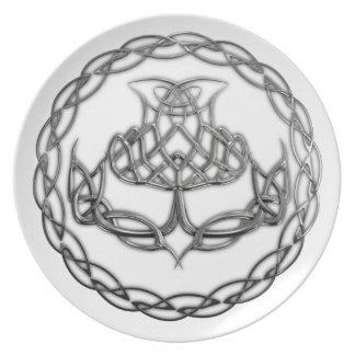 Chrome Celtic Knot Thistle Dinner Plates