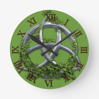 Chrome Celtic Trinity Knot Round Clock