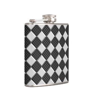Chrome Checkers on Carbon Fiber Print Hip Flask
