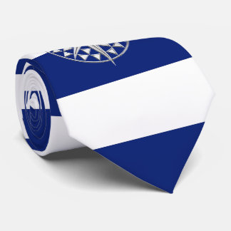 Chrome Compass on Nautical navy blue Stripes Neck Tie
