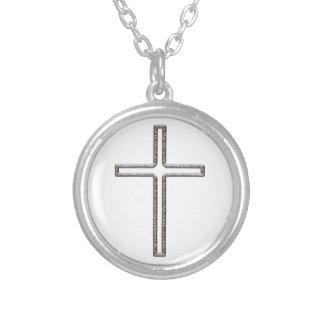 Chrome Crucifix Hollow Round Pendant Necklace