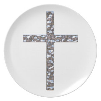 Chrome Crucifix Solid Dinner Plate