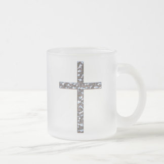 Chrome Crucifix Solid Frosted Glass Coffee Mug