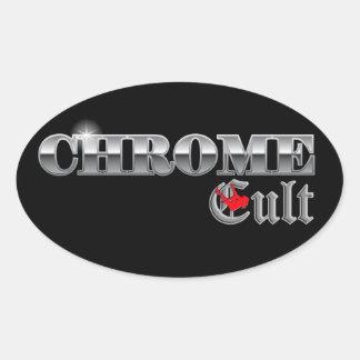 Chrome Cult On The Pole Oval Sticker