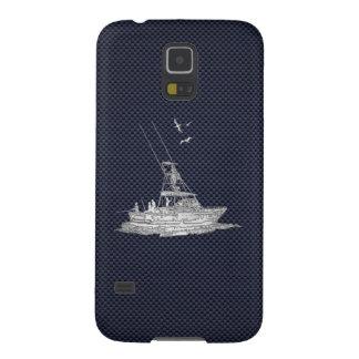 Chrome Deep Sea Fishing Boat on Carbon Fiber Print Case For Galaxy S5