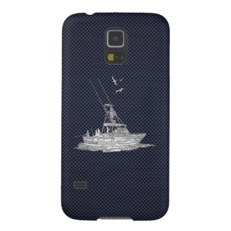 Chrome Deep Sea Fishing Boat on Carbon Fiber Print Case For Galaxy S5