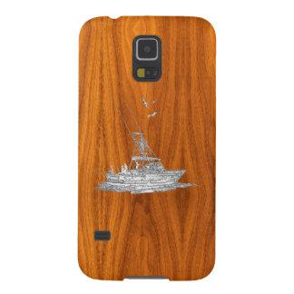 Chrome Deep Sea Fishing Boat on Teak Veneer Print Galaxy S5 Cases