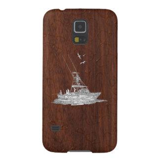 Chrome Deep Sea Fishing Boat on Wet Mahogany Print Case For Galaxy S5
