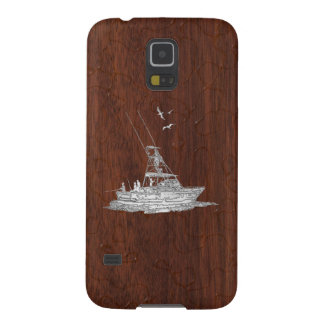 Chrome Deep Sea Fishing Boat on Wet Mahogany Print Galaxy S5 Cover