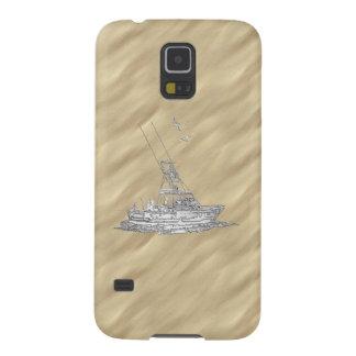 Chrome Deep Sea Fishing Boat Sandy Beach Print Galaxy S5 Case