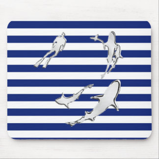 Chrome Diver and Sharks on Nautical Stripes Mousepads