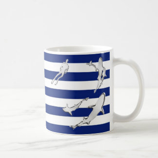 Chrome Diver and Sharks Silhouettes on Stripes Coffee Mug