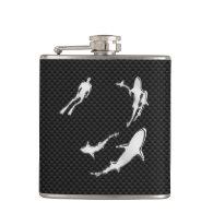 Chrome Diver n Sharks on Carbon Fiber Print Hip Flasks