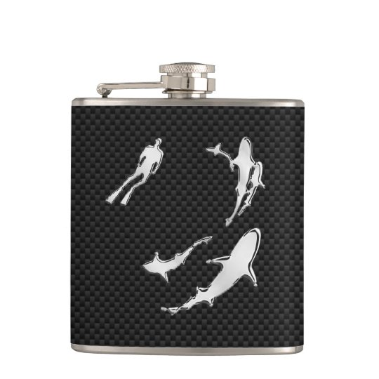 Chrome Diver n Sharks on Carbon Fiber Print Hip Flask