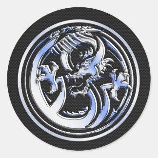 Chrome Dragon Crest dark Carbon Fiber Print Classic Round Sticker