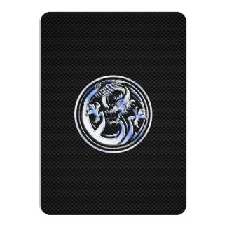 Chrome Dragon Crest on Carbon Fiber Print Card