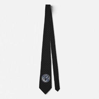 Chrome Dragon Crest on Carbon Fiber Print Neck Tie