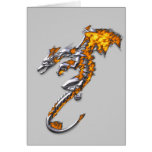Chrome Dragon with Flames Greeting Cards