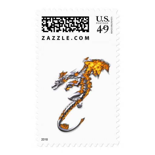 Chrome Dragon with Flames Postage Stamps