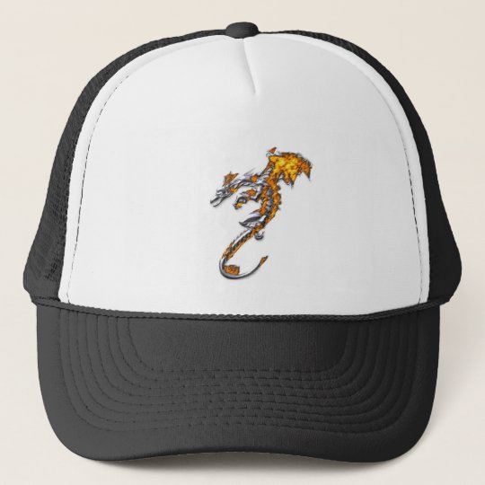 Chrome Dragon with Flames Trucker Hat