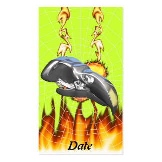 Chrome eagle skull design 1 with fire and web business cards