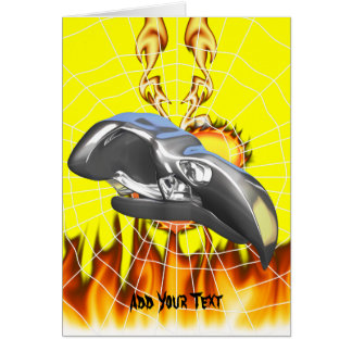 Chrome eagle skull design 1 with fire and web card