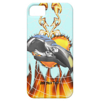 Chrome eagle skull design 1 with fire and web iPhone 5 cases