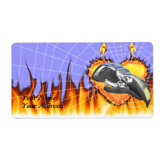 Chrome eagle skull design 1 with fire and web label