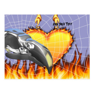 Chrome eagle skull design 1 with fire and web postcard