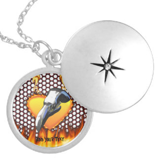 Chrome eagle skull design 1 with fire round locket necklace
