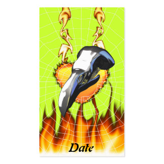 Chrome eagle skull design 2 with fire and web business card template