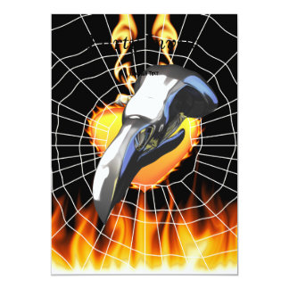 "Chrome eagle skull design 2 with fire and web 5"" x 7"" invitation card"