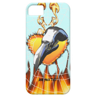 Chrome eagle skull design 2 with fire and web iPhone 5 case