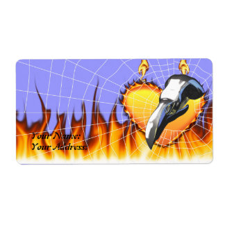 Chrome eagle skull design 2 with fire and web label
