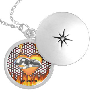 Chrome eagle skull design 3 with fire round locket necklace