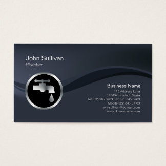 Chrome Faucet Icon Plumber Business Card