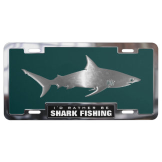 Chrome (faux) Black Tip Shark with Frame License Plate